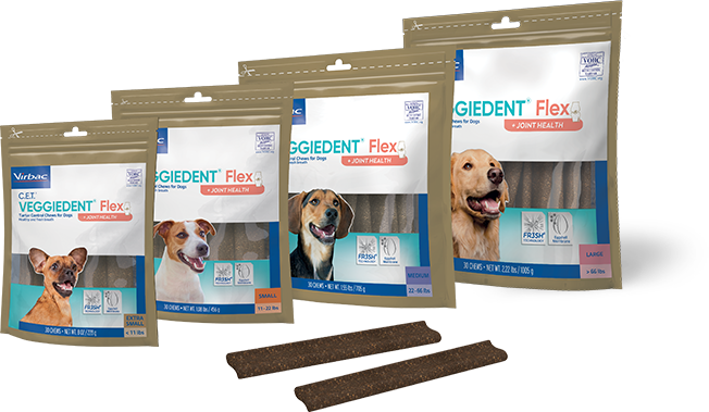 Photo showing bags of all 4 available sizes of C.E.T.® VEGGIEDENT® Flex Tartar Control Chews for Dogs