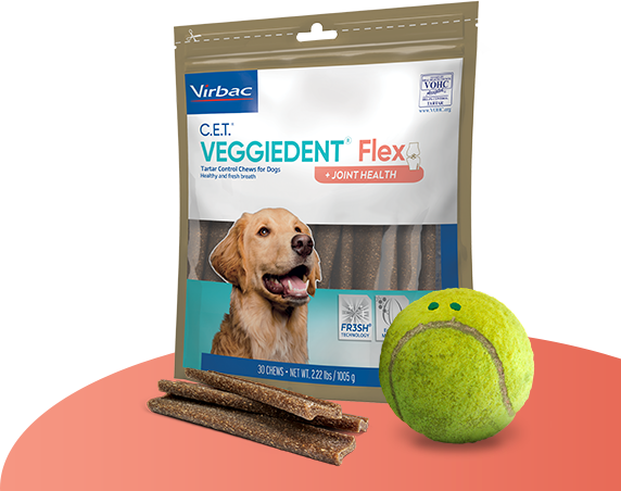 Photo of packaging for C.E.T.® VEGGIEDENT® Chews for Dogs, with a frowning tennis ball in front as though asking dog owners to help their pets
