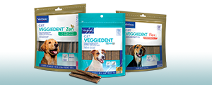 Photo of packaging for all 3 varieties of C.E.T® VEGGIEDENT® Tartar Control Chews for Dog